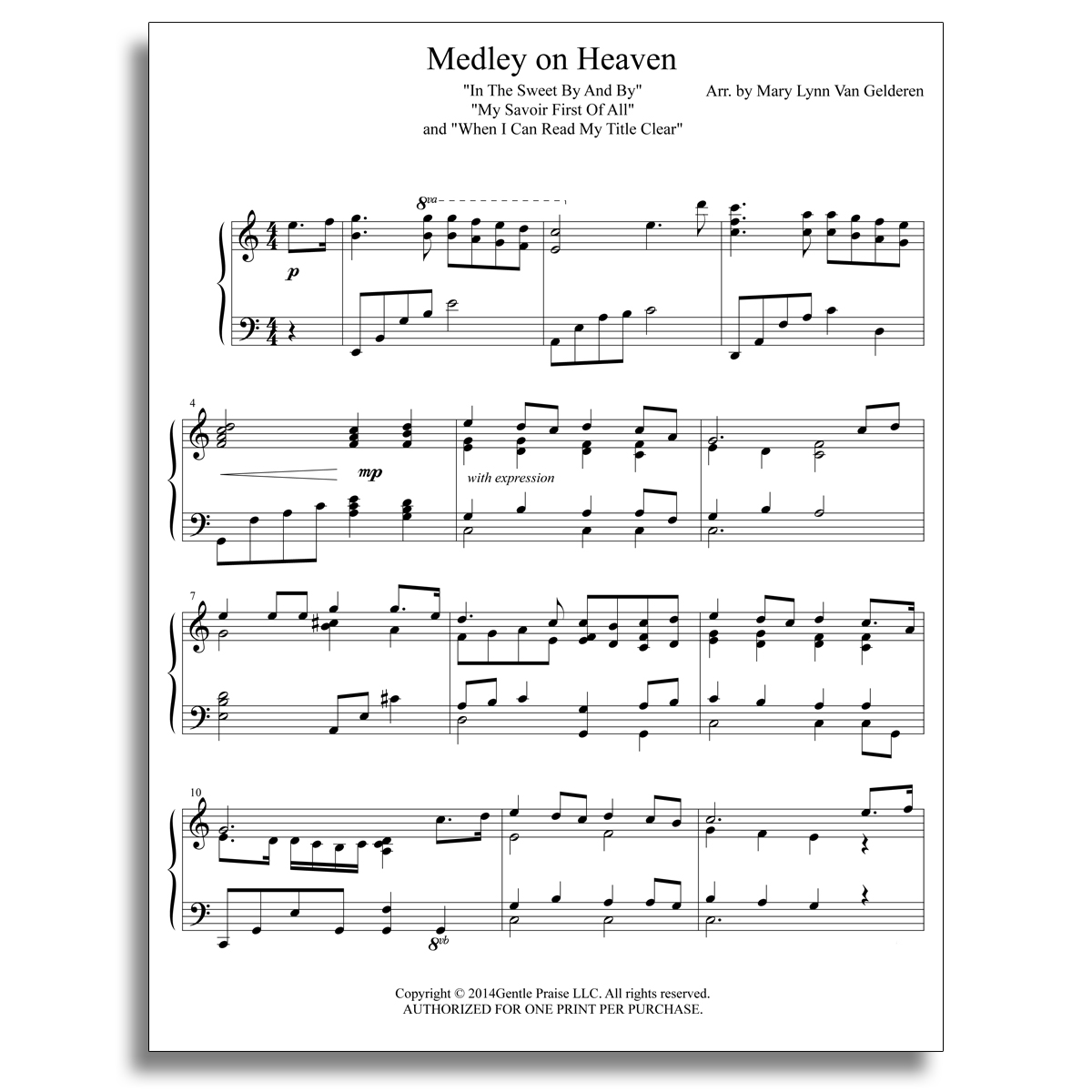 Gentle Praise Piano Sheet Music