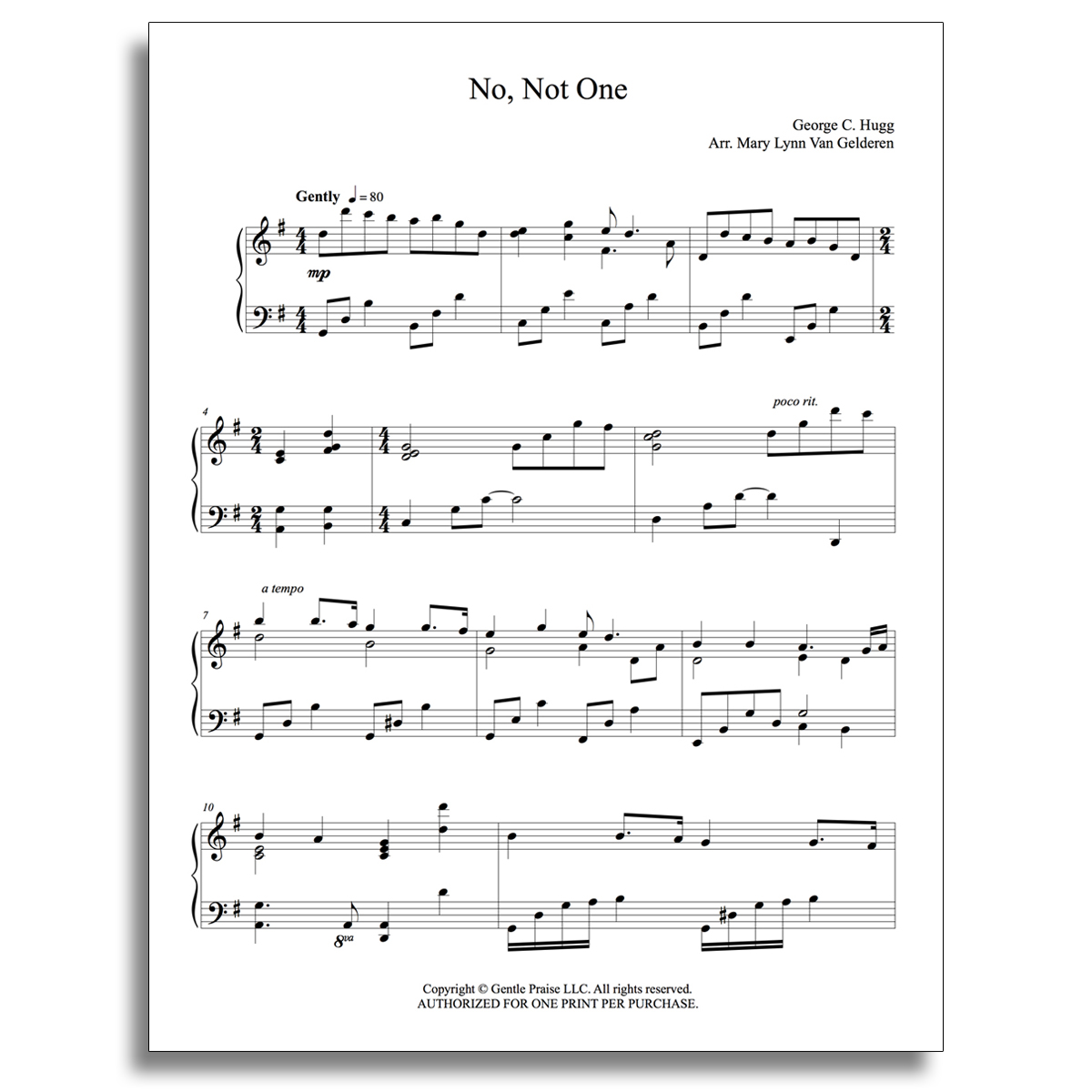 No, Not One Piano Sheet Music