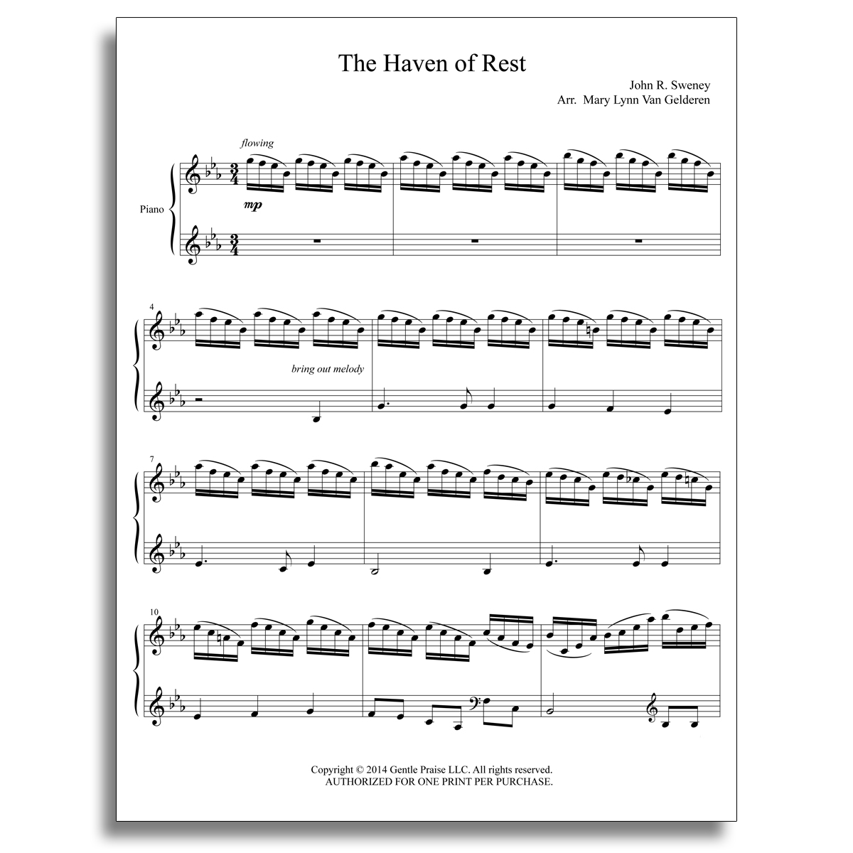 The Haven of Rest Piano Sheet Music