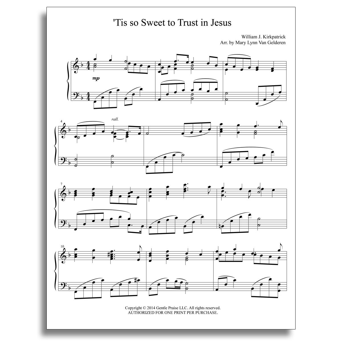 'Tis so Sweet Piano Sheet Music