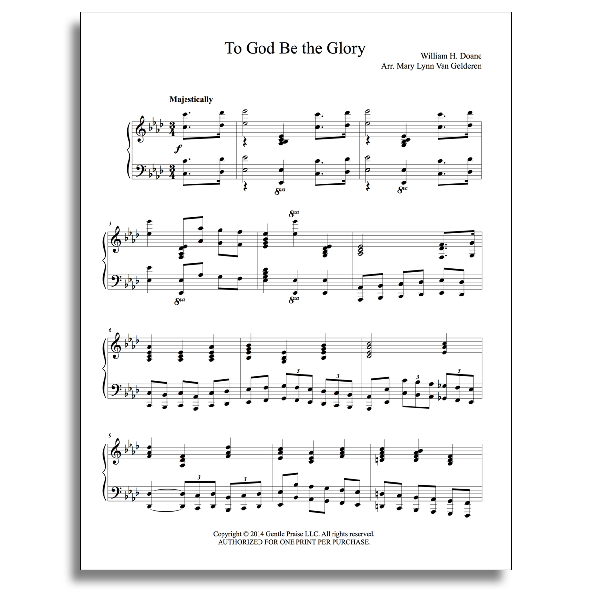 To God Be the Glory Piano Sheet Music