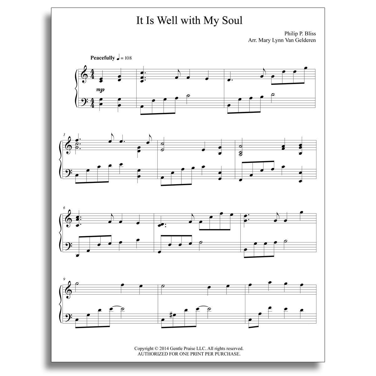 It Is Well Piano Sheet Music